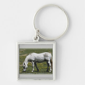 White / Grey Horse Keychain