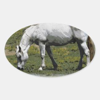 White / Grey Horse Oval Sticker