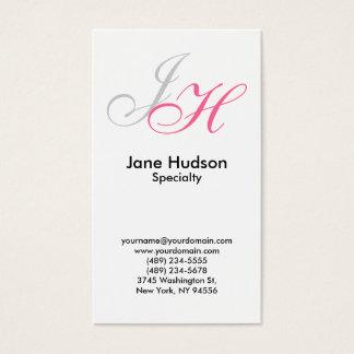 White Grey Monogram Simple Plain Business Card