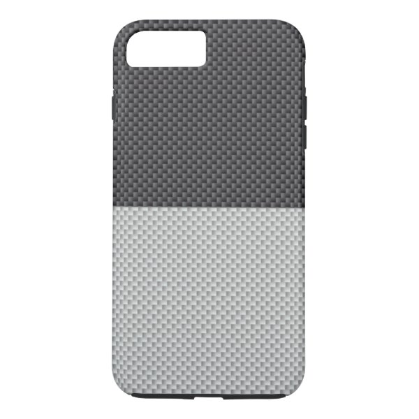 White Grey Two tone Carbon Fiber Base iPhone 7 Plus Case