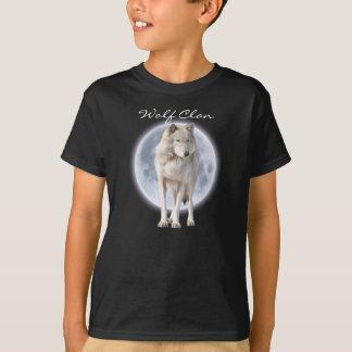 White Grey Wolf & Full Moon WOLF CLAN Wildlife Art T-Shirt