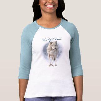 White Grey Wolf & Full Moon WOLF CLAN Wildlife Art T-shirts