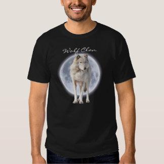 White Grey Wolf & Full Moon WOLF CLAN Wildlife Art Tee Shirt