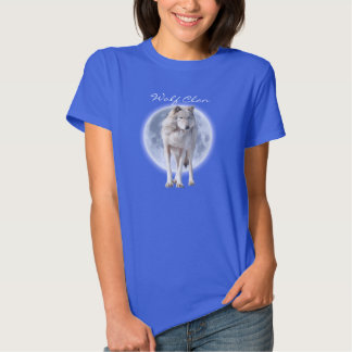 White Grey Wolf & Full Moon WOLF CLAN Wildlife Art Tshirts