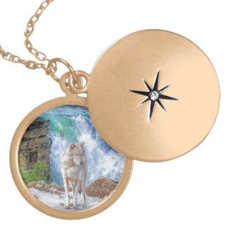 White Grey Wolf & Rocky Mountain Waterfall Jewelry
