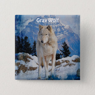White Grey Wolf & Rocky Mountains Button