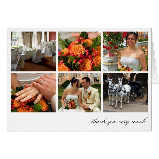 White grid collage 6 photos memories thank you card