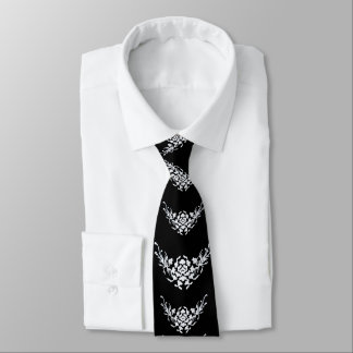 WHITE GRIFFINS AND FLOWERS IN BLACK NECK TIE
