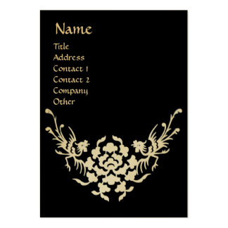 WHITE GRIFFINS MONOGRAM black and gold metallic Business Cards
