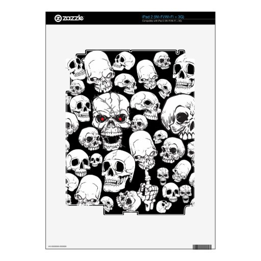 White Grouped Skulls Decal For The iPad 2