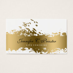 White & Grunge Gold Stripe & Flying Birds Business Card at Zazzle