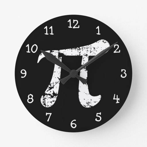 White Grunge Pi Symbol Wall Clock