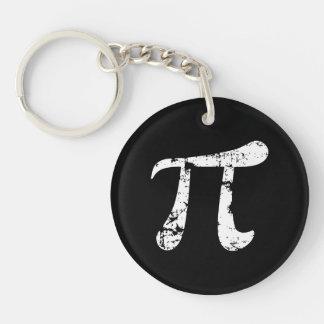 White Grunge Pi Symbol Double-Sided Round Acrylic Keychain