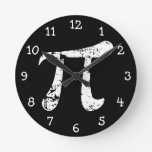 White Grunge Pi Symbol Round Clock