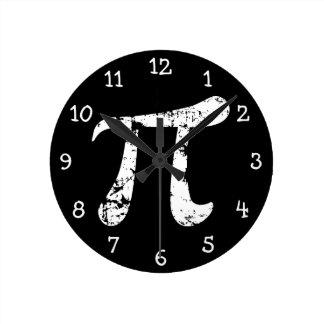 White Grunge Pi Symbol Round Wall Clocks