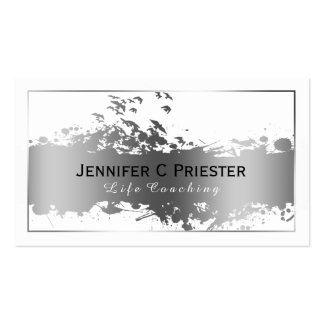 White & Grunge Silver Stripe & Flying Birds 2 Business Card Template