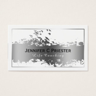 White & Grunge Silver Stripe & Flying Birds 2 Business Card