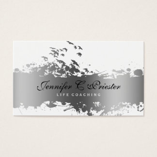 White & Grunge Silver Stripe & Flying Birds Business Card