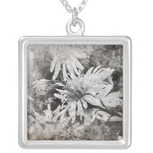 White Grunge Square Pendant Necklace