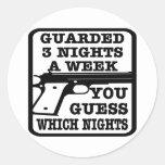 White Guarded 3 Nights Week Round Sticker
