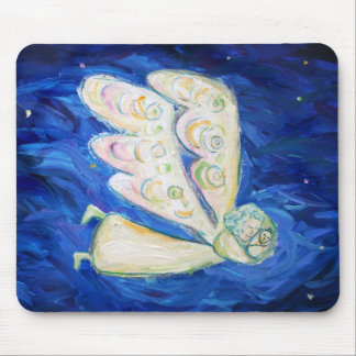 White Guardian Angel with Sleeping Baby Mousepad
