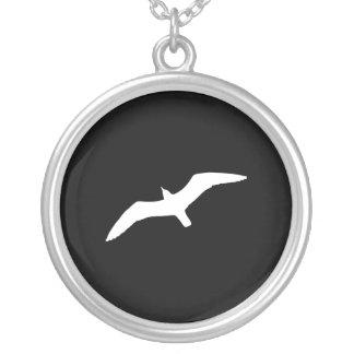 White Gull Round Pendant Necklace