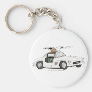 White Gullwing Basic Round Button Keychain
