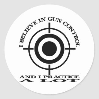 White Gun Control Practice Lot Classic Round Sticker