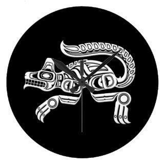 White Haida Spirit Wolf on Black Wall Clock
