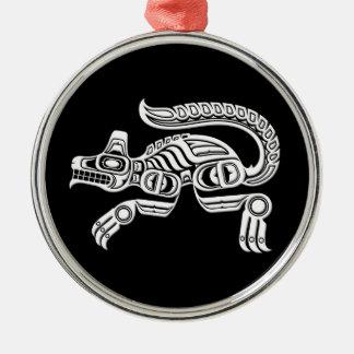 White Haida Spirit Wolf on Black Christmas Ornament