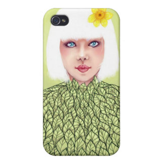 White Hair and Leaves Case For iPhone 4