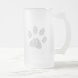 White Halftone Paw Print Frosted Glass Beer Mug
