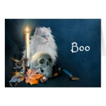 White Halloween cat Greeting Card