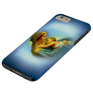 White Halo Blessed Virgin Mary with Child Jesus Tough iPhone 6 Plus Case