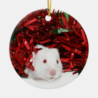 White hamster Christmas Ceramic Ornament