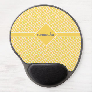 White Hand-Drawn Diamond Pattern on Yellow Gel Mouse Pad