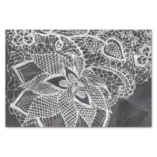 """White hand drawn floral lace black chalkboard 10"""" x 15"""" tissue paper"""