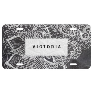 White hand drawn floral lace black chalkboard license plate