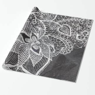 White hand drawn floral lace black chalkboard wrapping paper