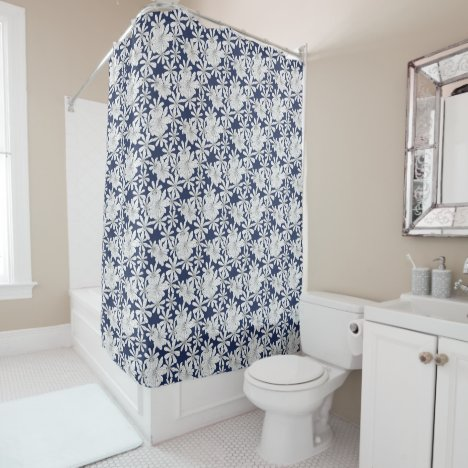 White Hand Drawn Flowers On Navy Blue Floral Print Shower Curtain