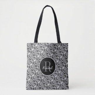 White Hand Drawn Pattern on gray, Monogrammed Tote Bag