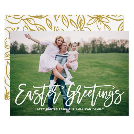 White Hand Lettered Easter Greetings Photo Card