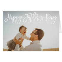 White Hand Lettered Script Happy Father's Day Card