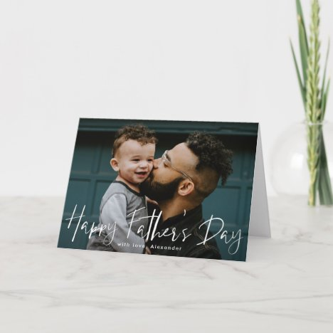 White Hand-Lettered Script Photo Father's Day Card