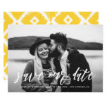 White Hand Lettered Script Photo Save the Date Card