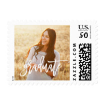 White Hand Lettering Photo Graduation Stamp