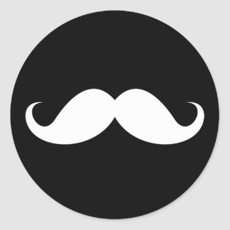White handlebar mustache on black background classic round sticker
