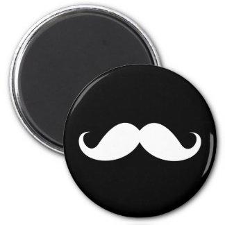 White handlebar mustache on black background magnet