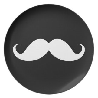 White handlebar mustache on black background party plate