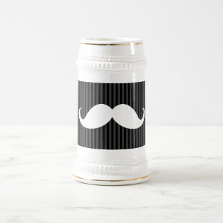 White handlebar mustache on gray black stripes beer stein